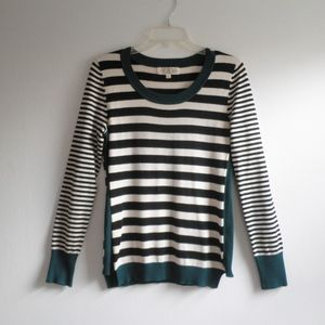 Striped Scoop Neck Pullover Ribbed Trim Sweater
